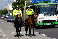 Police on horses during ice-hockey match between Slovenia and Latvia of Group G in Relegation Round of IIHF 2011 World Championship Slovakia, on May 5, 2011 in Orange Arena, Bratislava, Slovakia. (Photo By Vid Ponikvar / Sportida.com)
