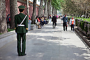 "Police at the ""The Forbidden City"" which was the Chinese imperial palace from the Ming Dynasty to the end of the Qing Dynasty. It is located in the middle of Beijing, China. Beijing is the capital of the People's Republic of China and one of the most populous cities in the world with a population of 19,612,368 as of 2010."