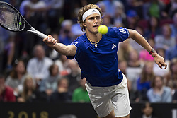 September 22, 2018 - Chicago, Illinois, U.S - Team Europe member ALEXANDER ZVEREV of Germany reaches to return a forehand during the first singles match between Team Europe and Team World on Day Two of the Laver Cup at the United Center in Chicago, Illinois. (Credit Image: © Shelley Lipton/ZUMA Wire)