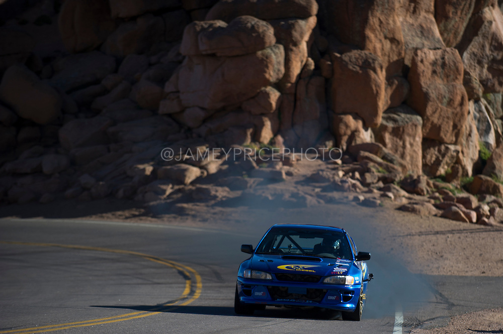 June 26-30 - Pikes Peak Colorado.  Gregoire Blachon works through sector 2 on the mountain during practice for the 91st running of the Pikes Peak Hill Climb.