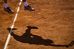 April 30, 2018 - Estoril, Portugal - Alex de Minaur from Australia serves to Gastao Elias from Portugal  during the Millennium Estoril Open CCC round tennis tournament in Estoril, outskirts of Lisbon, Portugal on April 30, 2018  (Credit Image: © Carlos Costa/NurPhoto via ZUMA Press)
