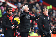 West Bromwich Albion manager Alan Pardew shouting orders fron the technical area during the Premier League match between Bournemouth and West Bromwich Albion at the Vitality Stadium, Bournemouth, England on 17 March 2018. Picture by Graham Hunt.