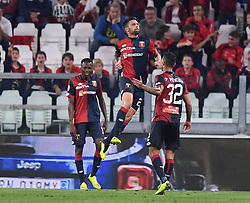 TURIN, Oct. 21, 2018  Genoa's Daniel Bessa (C) celebrates his goal during an Italian Serie A soccer match between FC Juventus and Genoa in Turin, Italy, Oct. 20, 2018. The match ended 1-1. (Credit Image: © Alberto Lingria/Xinhua via ZUMA Wire)