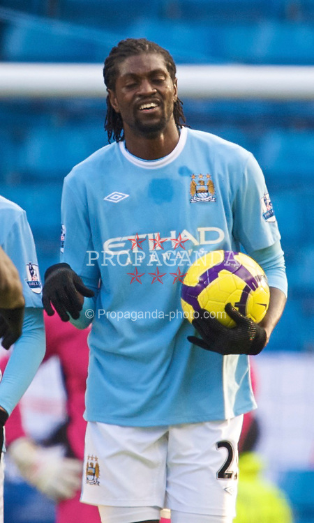 MANCHESTER, ENGLAND - Sunday, January 31, 2010: Manchester City's Emmanuel Adebayor celebrates scoring the opening goal against Portsmouth during the Premiership match at the City of Manchester Stadium. (Photo by David Rawcliffe/Propaganda)
