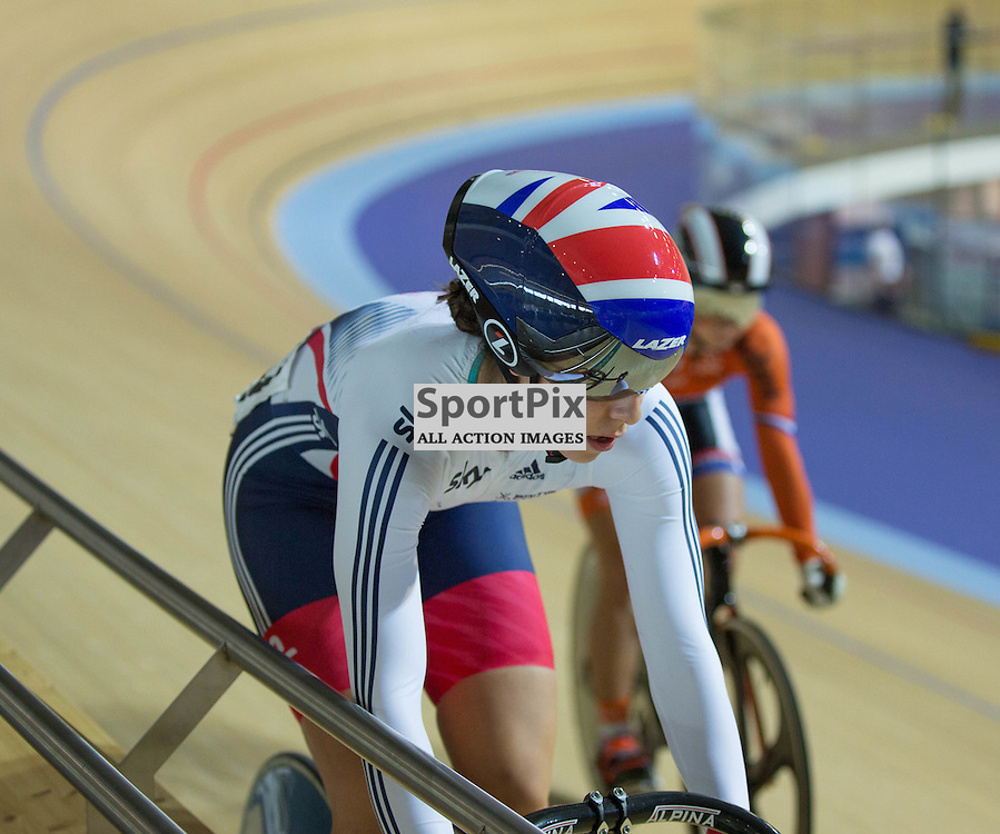 Danielle Khan of Team GB playing cat and mouse in the Women's sprint at the Revoultion Series 2015/6 Round 1 Derby, Day 2, on 15 August 2015 ( (Photo by Mike Poole - Photopoole)