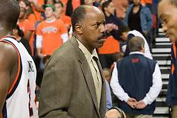 Boston College head coach Al Skinner congratulates Virginia players at the end of the game.  The Virginia Cavaliers men's basketball team defeated the Boston College Golden Eagles 84-66 at the John Paul Jones Arena in Charlottesville, VA on January 19, 2008.
