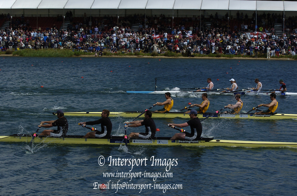 2005 FISA World Cup, Dorney Lake, Eton, ENGLAND, 28.05.05. Legends reenactment of the 2000 Sydney final for men's fours, also presentation on the awards dock..Photo  Peter Spurrier. .email images@intersport-images....[Mandatory Credit Peter Spurrier/ Intersport Images] , Rowing Courses, Dorney Lake, Eton. ENGLAND