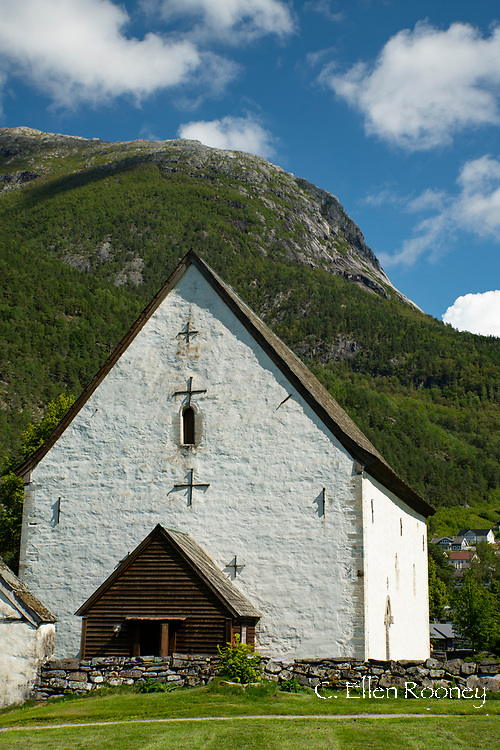 The Kinsarvik Stone Church built in 1180, one of Norway's oldest stone churches in Kinsarvik on Sor Fjord, Vestlandet, Norway, Europe