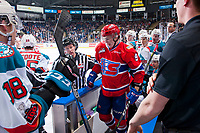 KELOWNA, CANADA - JANUARY 10: Zach Fischer #9 of the Spokane Chiefs exits the Kelowna Rockets' bench after a scuffle with Cal Foote #25 of the Kelowna Rockets on January 10, 2017 at Prospera Place in Kelowna, British Columbia, Canada.  (Photo by Marissa Baecker/Shoot the Breeze)  *** Local Caption ***