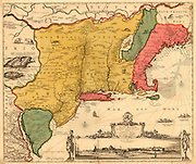 "Map of the New York Area. Dutch map of ""New Amsterdam"" circa 1700 Includes several Indian illustrations"