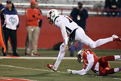 11 December 2015:  David Broadus gets away from DraShane Glass(14). NCAA FCS Quarter Final Football Playoff game between Richmond Spiders and Illinois State Redbirds at Hancock Stadium in Normal IL (Photo by Alan Look)
