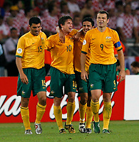Photo: Glyn Thomas.<br />Croatia v Australia. Group F, FIFA World Cup 2006. 22/06/2006.<br /> Australia's Harry Kewell (second from L) celebrates scoring his side's second goal.