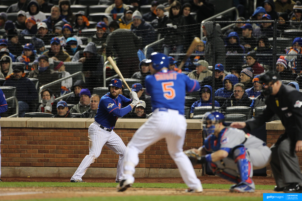Daniel Murphy waits on deck as David Wright, New York Mets, bats during the MLB NLCS Playoffs game two, Chicago Cubs vs New York Mets at Citi Field, Queens, New York. USA. 18th October 2015. Photo Tim Clayton