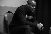 Daniel Cormier waits backstage before his fight against Anthony Johnson during UFC 187 at the MGM Grand in Las Vegas, Nevada on May 23, 2015. (Cooper Neill)
