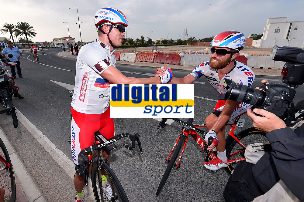 Cycling: 14th Tour of Qatar 2015 / Stage 5   <br /> Arrival / KRISTOFF Alexander (NOR)/ PAOLINI Luca (ITA)/  Celebration Joie Vreugde / <br /> Al Zubarah Fort - Madinat Al Shamal (153Km)/ <br /> Etape Rit / Ronde /(c) Tim De Waele