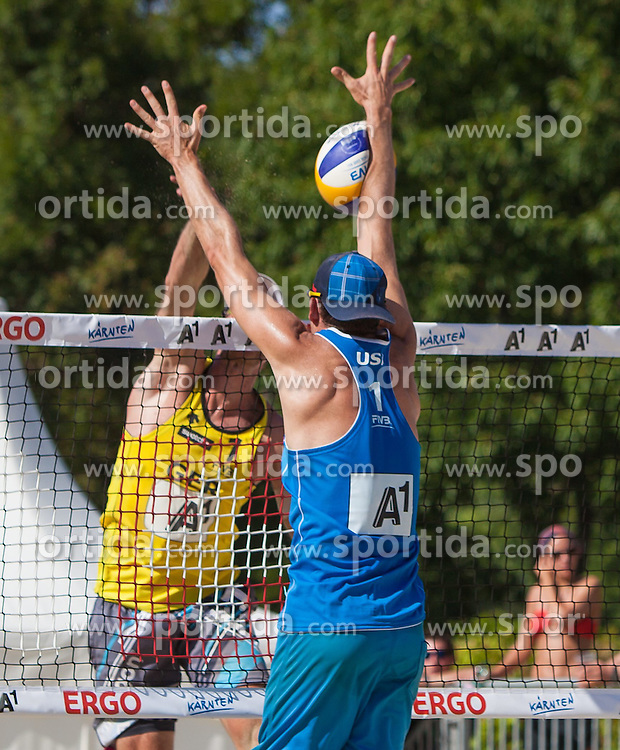 "19.07.2012, Klagenfurt, Strandbad, AUT, A1 Beachvolleyball Grand Slam 2012, im Bild Dollinger 1 GER, Gibb 1 USA// during the A1 Beachvolleyball Grand Slam 2012 at the ""Strandbad"" Klagenfurt, Austria on 2012/07/19. EXPA Pictures © 2012, PhotoCredit: Mag. Gert Steinthaler"