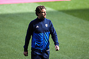 Daryl Janmaat of Watford inspects the pitch, before the Premier League match between Swansea City and Watford at the Liberty Stadium, Swansea, Wales on 23 September 2017. Photo by Andrew Lewis.