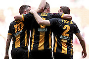 Christopher Swailes (Morpeth Town), Stephen Forster (Morpeth Town) and Michael Chilton (Morpeth Town) celebrate scoring the equaliser. 1-1 during the FA Vase match between Hereford and Morpeth Town at Wembley Stadium, London, England on 22 May 2016. Photo by Mark Doherty.