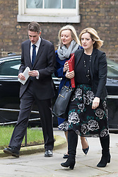 Downing Street, London, March 8th 2016. Environment Food and Rural Affairs Secretary Elizabeth Truss and Energy Secretary Amber Rudd arrive for the weekly UK cabinet meeting at Downing Street. ©Paul Davey<br /> FOR LICENCING CONTACT: Paul Davey +44 (0) 7966 016 296 paul@pauldaveycreative.co.uk