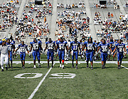 Hampton University team captains walk out for the coin toss prior to the start of the Hampton-Grambing 2006 MEAC-SWAC Football Challenge at Legion Field in Birmingham, Alabama.  Hampton won 27-26 in OT.  September 02, 2006  (Photo by Mark W. Sutton)