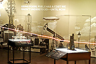 New York. American Museum of Natural Histoty. Exhibiiton on Climate Change: The Threat to Life and A New Energy Future. Today, atmospheric CO2 is at a level that has not been seen on Earth for at least 800,000 years, and probably much longer. The line on this wall-sized graph tracks levels of carbon dioxide in Earth's atmosphere over the last 400 years.
