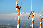 Israel, Golan Heights, View of Wind turbines near kibbutz Ein Zivan,