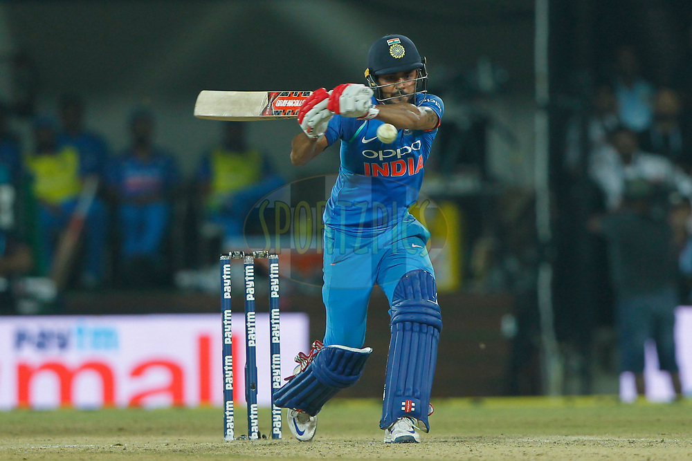 Manish Pandey of India bats during the 3rd One Day International between India and Australia held at the Holkar Stadium in Indore on the 24th  September 2017<br /> <br /> Photo by Deepak Malik / BCCI / SPORTZPICS