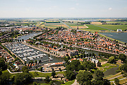 Nederland, Noord-Holland, Medemblik, 14-07-2008; Kasteel Radboud met jachthaven, op het tweede de Wieringermeer met rechts gemaal Lely; West-Friesland. .luchtfoto (toeslag); aerial photo (additional fee required); .foto Siebe Swart / photo Siebe Swart
