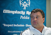 Famous former Polish soccer player Roman Kosecki while Press Conference of Special Olympics at Novotel Hotel in Warsaw before the UEFA EURO 2012 Quarterfinal football match between Portugal and Czech Republic at National Stadium in Warsaw on June 21, 2012...Poland, Warsaw, June 21, 2012..Picture also available in RAW (NEF) or TIFF format on special request...For editorial use only. Any commercial or promotional use requires permission...Photo by © Adam Nurkiewicz / Mediasport