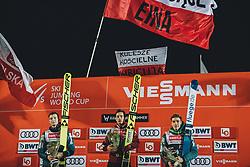 10.03.2020, Lysgards Schanze, Lillehammer, NOR, FIS Weltcup Skisprung, Raw Air, Lillehammer, Herren, Siegerehrung, im Bild Ziga Jelar (SLO) 2. Platz, Sieger Kamil Stoch (POL), 3. Platz Timi Zajc (SLO) // Ziga Jelar of Slovenia (2nd place) winner Kamil Stoch of Poland Timi Zajc of Slovenia (3rd place) during the winner ceremony for the men's 2nd Stage of the Raw Air Series of FIS Ski Jumping World Cup at the Lysgards Schanze in Lillehammer, Norway on 2020/03/10. EXPA Pictures © 2020, PhotoCredit: EXPA/ JFK