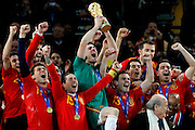 The Spanish team celebrate as the receive the world cup trophy after beating Holland 1-0 in extra time. Soccer city. Johannesburg. South Africa. .Sunday 11th July 2010.©Picture Zute Lightfoot.  +27(0)715957313 www.lightfootphoto.com