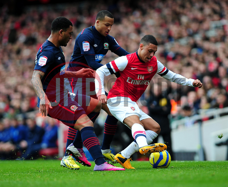 Arsenal's Alex Oxlade-Chamberlain is challenged by Blackburn Rovers' Marcus Olsson and Colin Kazim-Richards - Photo mandatory by-line: Dougie Allward/JMP - Tel: Mobile: 07966 386802 16/02/2013 - SPORT - FOOTBALL - Emirates Stadium - London -  Arsenal V Blackburn Rovers - FA Cup - Fifth Round