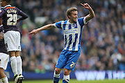 Brighton striker (on loan from Manchester United), James Wilson (21) scores late in the game to level the score at 1-1 during the Sky Bet Championship match between Brighton and Hove Albion and Derby County at the American Express Community Stadium, Brighton and Hove, England on 2 May 2016.