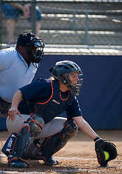 Virginia Cavaliers 1B/C Amy McKean (8) in action against UMD.  The Virginia Cavaliers softball team fell to the Maryland Terrapins 8-3 in the second game of a doubleheader at The Park in Charlottesville, VA on March 24, 2007.