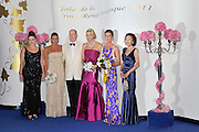 05.AUGUST.2011. MONACO<br /> <br /> MELANIE DE MASSEY, PRINCESS STEPHANIE OF MONACO, PRINCE ALBERT II OF MONACO AND HIS WIFE PRINCESS CHARLENE OF MONACO, PRINCESS CAROLINE OF HANOVER, AND ELISABETH ANN DE MASSEY ARRIVE AT THE 63RD RED CROSS BALL AT THE SPORTING CLUB SALLE DES ETOILES IN MONACO<br /> <br /> BYLINE: EDBIMAGEARCHIVE.COM<br /> <br /> *THIS IMAGE IS STRICTLY FOR UK NEWSPAPERS AND MAGAZINES ONLY*<br /> *FOR WORLD WIDE SALES AND WEB USE PLEASE CONTACT EDBIMAGEARCHIVE - 0208 954 5968*