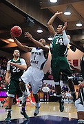 November 28, 2011; Moraga, CA, USA; Weber State Wildcats guard Damian Lillard (1) drives to the basket against Saint Mary's Gaels guard Stephen Holt (14) during the first half of the Shamrock Office Solutions Classic championship game at McKeon Pavilion.
