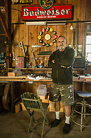 My neighbor and vineyard owner,  Jack Smith, pauses between projects in his barn workshop on School Street in Calistoga