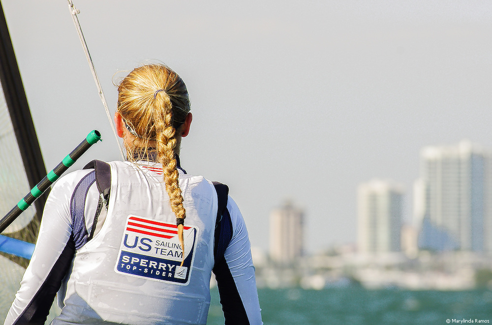 Miami, FL, USA, January 4, 2014 - Former 29er sailor Helene Scutt watches over the fleet at the 29er Nationals held at Coconut Grove Sailing Club, Jan 1-4, 2013.m  Helene is now competing for a spot on the US Olympic team in the 49er FX class.