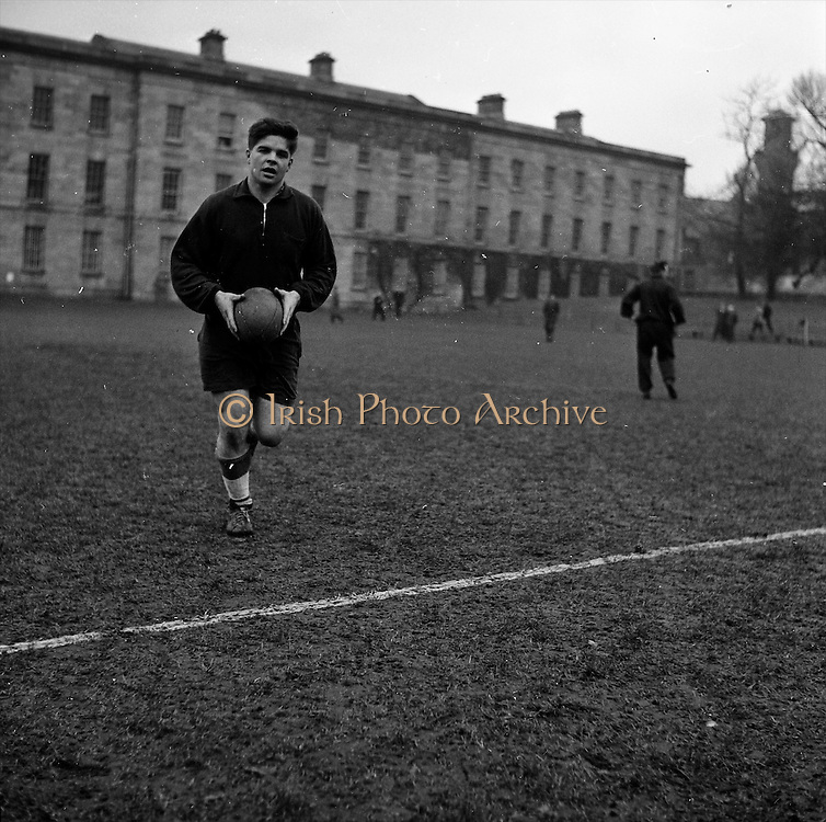 Scotlands new captain R Stevens at practice in Dublin,..Irish Rugby Football Union, Ireland v Scotland, Five Nations, Scottish team practice at college park, Dublin, Ireland, Friday 23rd February, 1962,.23.2.1962, 2.23.1962,..  Scottish Team, ..K J F Scotland, Wearing number 15 Scottish jersey,  Full Back, Leicester Rugby Football Club, Leicester, England, ..R C Cowan, Wearing number 11 Scottish jersey,  Left Wing, Selkirk Rugby Football Club, Selkirk, Scotland, ..I H P Laughland, Wearing number 12 Scottish jersey, Left Centre, London Scottish Rugby Football Club, Surrey, England, ..J J McPartlin, Wearing number 13 Scottish jersey,  Right Centre, Oxford University Rugby Football Club, Oxford, England,..A R Smith, Wearing number 14 Scottish jersey, Captain of the Irish team,  Right Wing, Edinburgh University Rugby Football Club, Edinburgh, Scotland, ..G H Waddell, Wearing number 10 Scottish jersey,  Stand Off, London Scottish Rugby Football Club, Surrey, England, ..S Coughtrie, Wearing number 9 Scottish jersey,  Scrum Half, Edinburgh Academical Rugby Football Club, Edinburgh, Scotland, ..H F McLeod, Wearing number 1 Scottish jersey,  Forward,  Hawick Rugby Football Club, Hawick, Scotland, ..N S Bruce, Wearing number 2 Scottish jersey,  Forward, London Scottish Rugby Football Club, Surrey, England, ..R Steven , Wearing number 3 Scottish jersey, Forward, Edinburgh Wanderers Rugby Football Club, Edinburgh, Scotland, ..F H ten Bos, Wearing number 4 Scottish jersey,  Forward, London Scottish Rugby Football Club, Surrey, England, ..M J Campbell-Lamberton, Wearing number 5 Scottish jersey, Forward, Halifax Rugby Football Club, Yorkshire, England, ..R J C Glasgow, Wearing number 6 Scottish jersey,  Forward, Dunfermline Rugby Football Club, Fife, Scotland, ..J Douglas, Wearing number 8 Scottish jersey, Forward, Stewarts College Rugby Football Club, Edinburgh, Scotland, ..K I Ross, Wearing number 7 Scottish jersey, Forward, Boroughmuir Rugby Football Club, Edinburgh, Scotland,