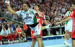 Nikola Eklemovic (23) of Hungary during 21st Men's World Handball Championship 2009 Main round Group I match between National teams of Croatia and Hungary, on January 24, 2009, in Arena Zagreb, Zagreb, Croatia.  (Photo by Vid Ponikvar / Sportida)