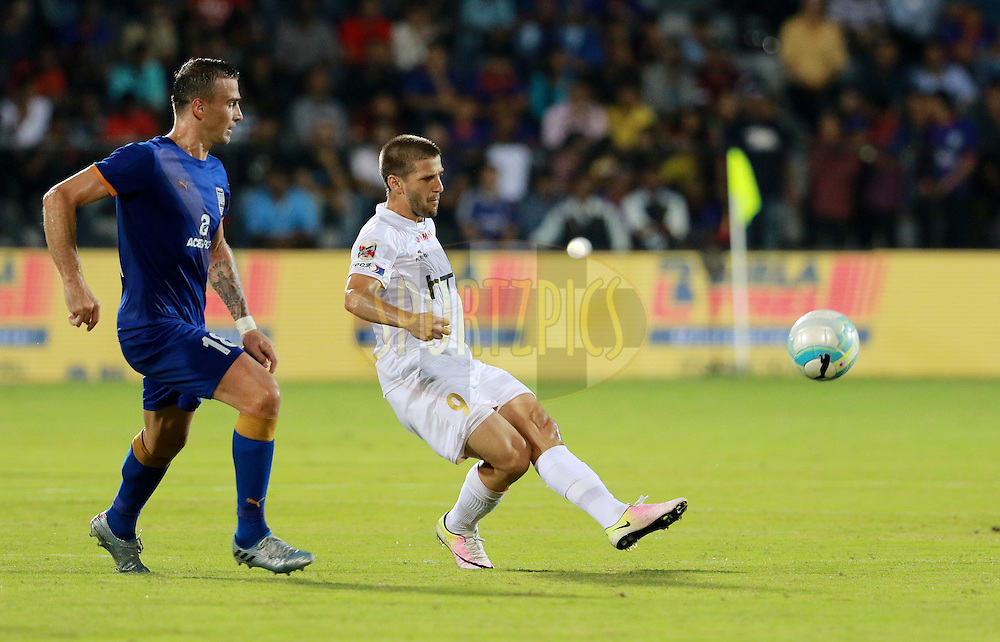 Emiliano Alfaro of NorthEast United FC in action during match 7 of the Indian Super League (ISL) season 3 between Mumbai City FC and NorthEast United FC held at the Mumbai Football Arena in Mumbai, India on the 7th October 2016.<br /> <br /> Photo by Vipin Pawar / ISL/ SPORTZPICS