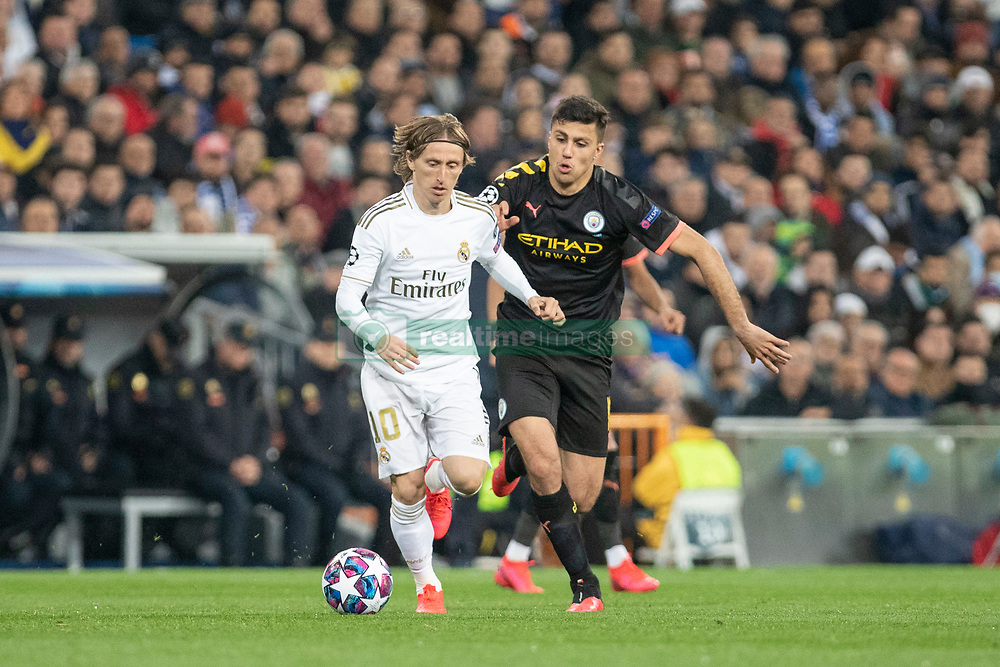 Real Madrid's Luka Modric and Manchester City's during the UEFA Champions League round of 16 first leg match Real Madrid v Manchester City at Santiago Bernabeu stadium on February 26, 2020 in Madrid, Sdpain. Real was defeated 1-2. Photo by David Jar/AlterPhotos/ABACAPRESS.COM