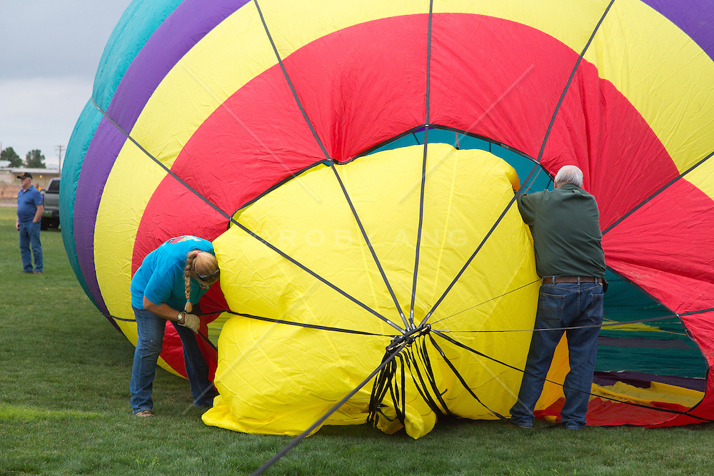 crew setting up a hot air balloon in New Mexico