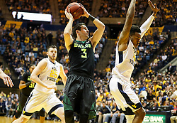 Jan 9, 2018; Morgantown, WV, USA; Baylor Bears guard Jake Lindsey (3) drives down the lane and shoots during the first half against the West Virginia Mountaineers at WVU Coliseum. Mandatory Credit: Ben Queen-USA TODAY Sports