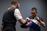 HOUSTON, TX - OCTOBER 3:  Chris Cariaso warms up backstage before his fight against Sergio Pettis during UFC 192 at the Toyota Center on October 3, 2015 in Houston, Texas. (Photo by Cooper Neill/Zuffa LLC/Zuffa LLC via Getty Images) *** Local Caption *** Chris Cariaso