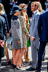 Princess Caroline's son Pierre Casiraghi with his wife Beatrice Borromeo and Charlotte Casiraghi at the wedding ceremony of heir of the throne of German House of Hanover, Prince Ernst August Jr. of Hanover, Duke of Braunscshweig and Lueneburg, and Russian designer Ekaterina Masysheva at the Marktkirche church in Hanover, Germany, 08 July 2017. The son of Prince Ernst August of Hanover Sen., who is married to Princess Caroline of Monaco, is related to several royal houses in Europe. The House of Hanover is a German royal dynasty that also ruled the United Kingdom between. Ernst-August Sr.'s own father (Ernst-August IV) opposed his son's marriage to first wife Chantal, a Swiss commoner. Photo by Robin Utrecht/ABACAPRESS.COM