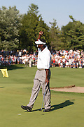 Jul 31, 2005; Grand Blanc, MI, USA; Vijay Singh pumps his fist for the crowd after tapping in to win the 2005 Buick Open at the Warwick Hills Golf and Country Club. Copyright © 2005 Kevin Johnston