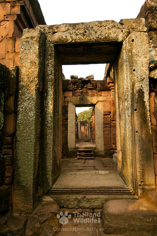 Corridor at Prasat Hin Phimai Khmer temple at Khorat (Nakorn Ratchasima) in Thailand.  View is March 2007.
