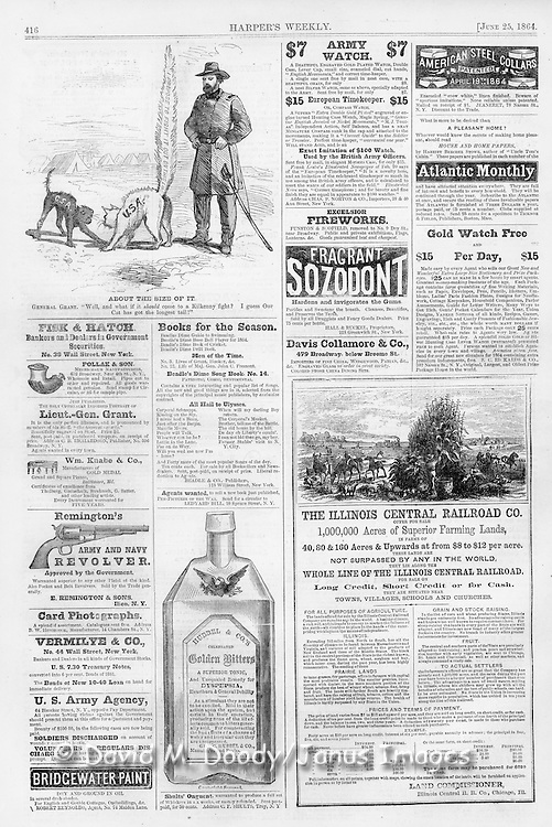 Harper's Weekly June 25, 1864  Grant Civil War cartoon and advertisements for guns, land sales, books, photos, pipes, watches, medicine, tonic, shirt collars and more
