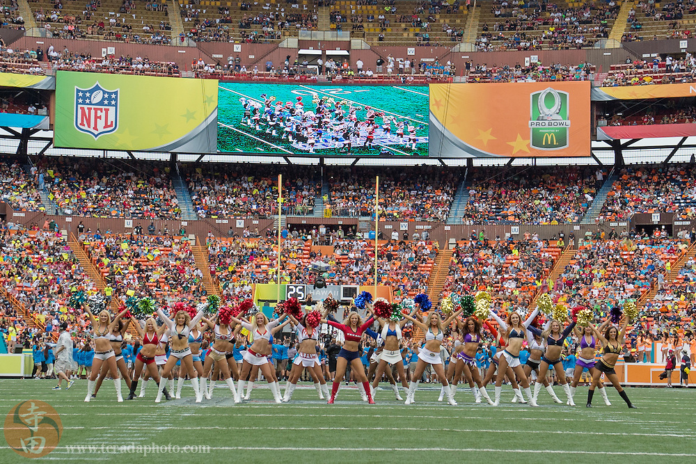 January 26, 2014; Honolulu, HI, USA; NFL Pro Bowl cheerleaders perform during halftime of the 2014 Pro Bowl at Aloha Stadium.